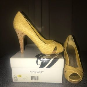 Canary yellow Nine West cork heel shoes size 7.5